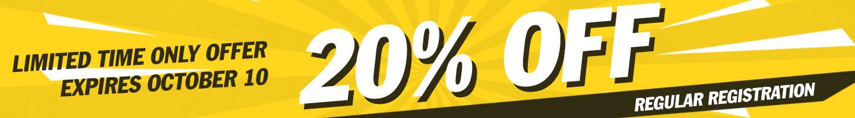 30% Regular Registration